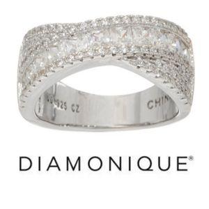 Diamonique   Princess and Round Band Ring 8